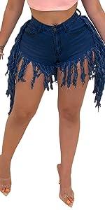 Women's Elastic High Waisted Denim Fray Hem Tassels Shorts Jeans