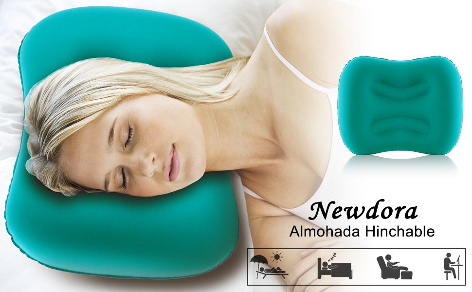 Newdora Almohada Hinchable, Almohada Camping, Almohada de Viaje ...
