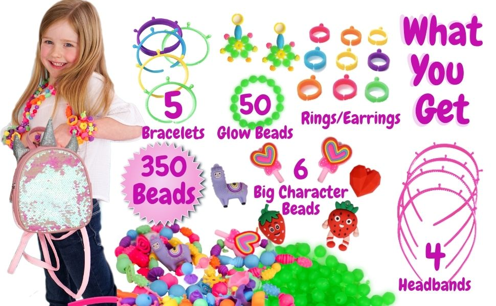 mini unicorn backpack for girls,beads for kids crafts,pop beads,kids jewelry making kit for girls