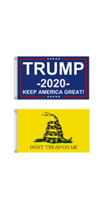 Trump flag and Gadsden flag
