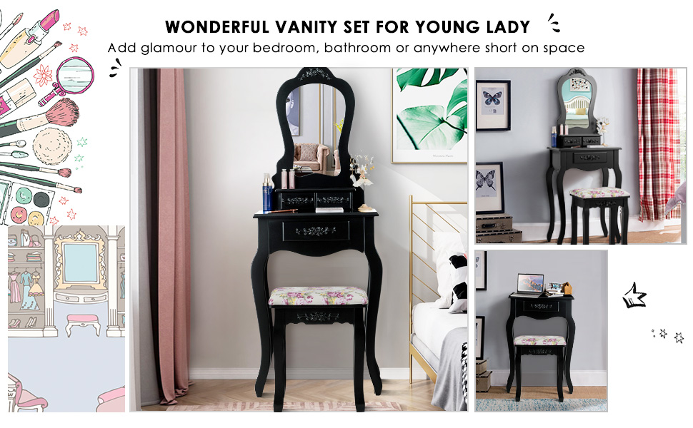 Giantex Vanity Set with 3 Drawers and Cushioned Stool