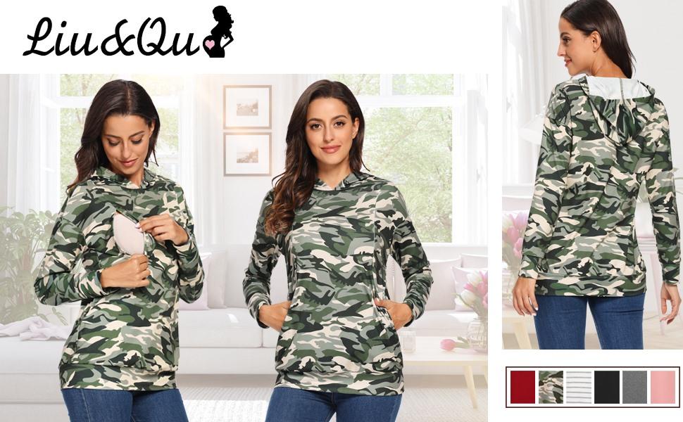 Liu & Qu nursing tops breastfeeding sweatshirt long pullover hoodies