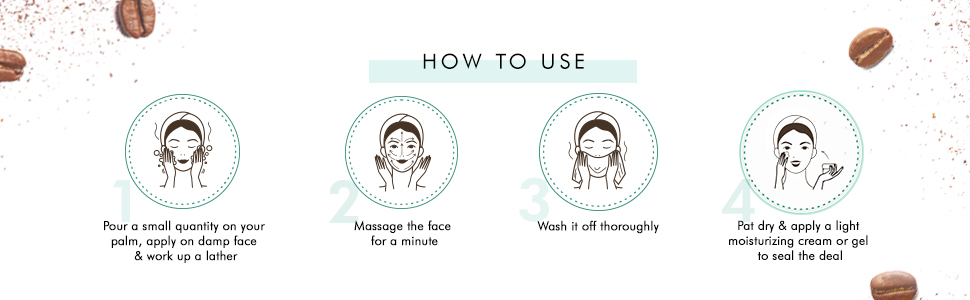 apply face wash on damp face gently massage in circular motions rinse with water pat dry