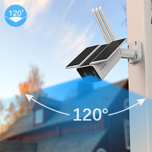 120 degree  【2020 Upgrated】 Wireless Outdoor Security Camera, WiFi 1080P Solar Security Camera 10400mAh Rechargeable Battery, PIR Motion Detection, Night Vision, 2-Way Audio, 3 Antenna, IP67 Waterproof, Cloud SD 1dab1334 b097 4091 beef 05275c222e5c