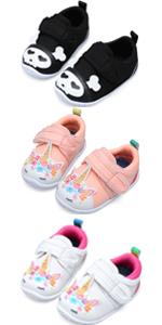Kids Baby Girls Boys Slip on Wide Sneakers Cute Cartoon Casual Running Shoes
