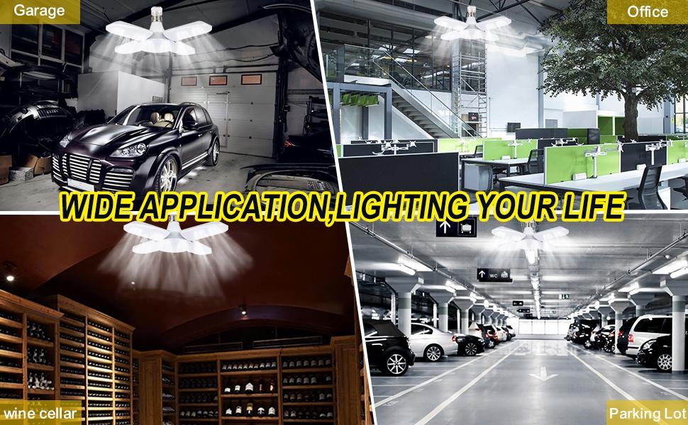 Luz de Techo LED para Garaje, LACYIE Lámpara Deformable Para ...