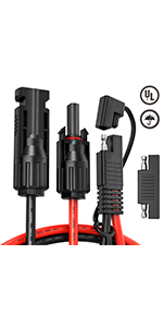 MC4 to SAE Adapter Cable 10 AWG 24 Inch with 1pcs SAE Polarity Reverse Adapter Connector