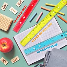 bulk ruler 12 inch rulers kids students school transparent blue red yellow inches 12 in.