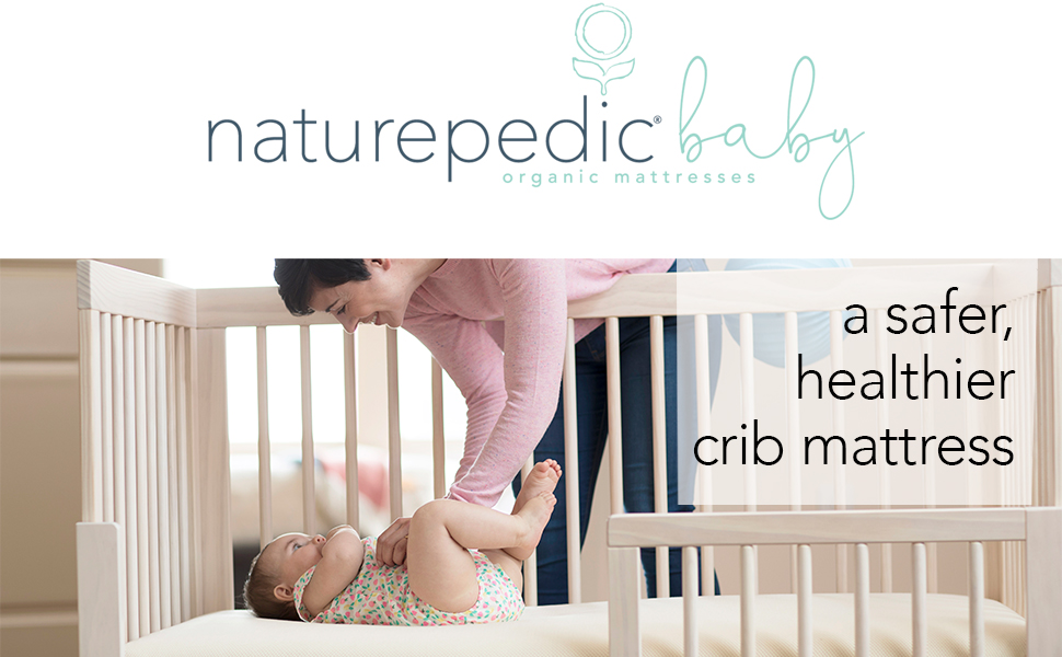 Naturepedic Logo with Mom and Baby - A Safer, Healthier Crib Mattress