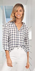 CAMIXA Women Plaid Shirt Linen Button Down Buffalo Check Long Sleeve White and Blue