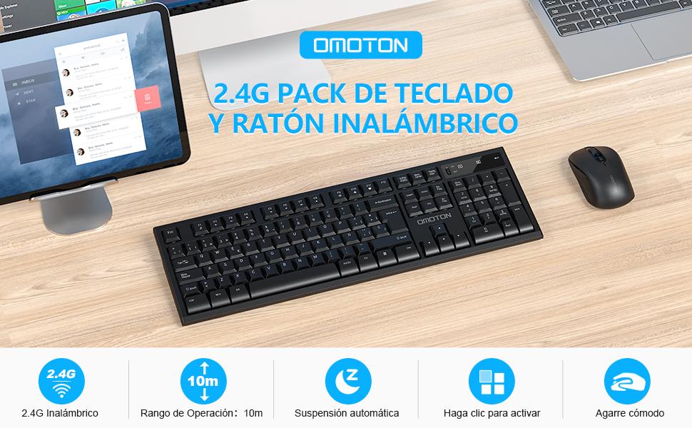 OMOTON Combo Teclado y Ratón Inalámbricos para Windows, 2.4G(USB), Raton y Teclado para Windows 10/XP/7/8/Vista, 1600DPI, 5 Botones
