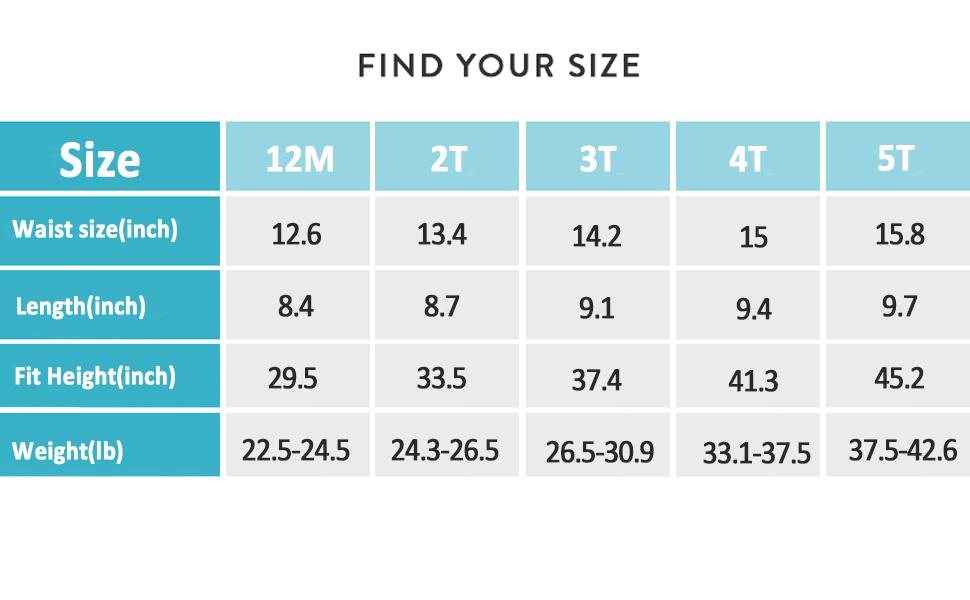 size of training underwear