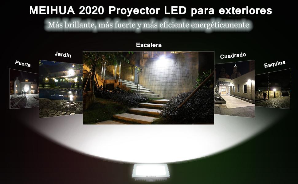 60W Focos de Exterior, MEIHUA Led Foco Proyector Exterior Alto Brillo, Impermeable IP66, 6500K Iluminación led de Seguridad, Luz Led Iluminación para Patio, Camino, Jardín - Blanco frío: Amazon.es: Bricolaje y herramientas