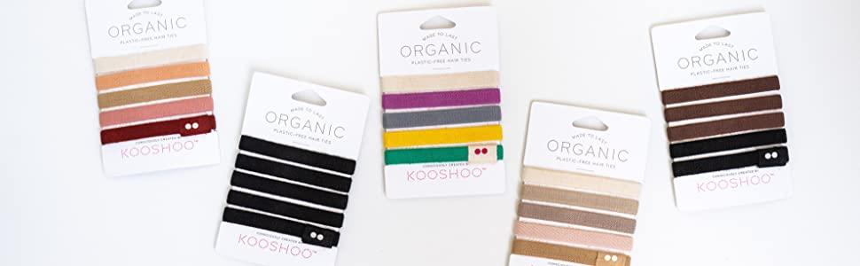 hair ties hair elastics organic ponytail holder bands plastic-free wide cotton natural ethical