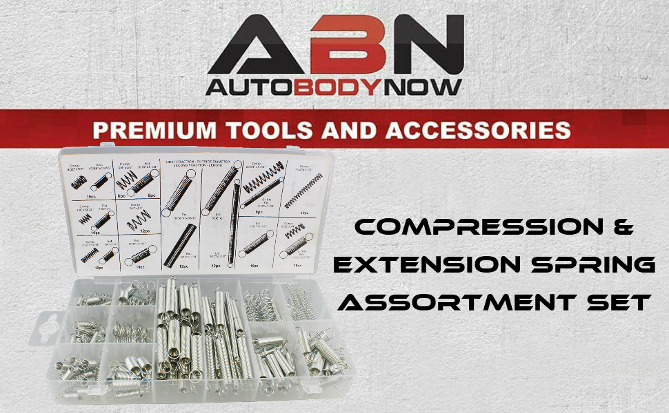 ABN Compression /& Extension Steel Wire Spring 200 pc Assortment Set Springs Kit