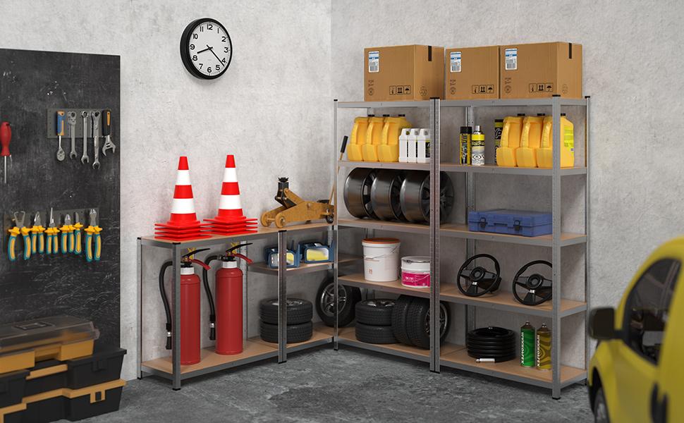 shelfplaza HOME Steckregal 115x50x45cm Garage Hobby Lager Keller Werkstatt