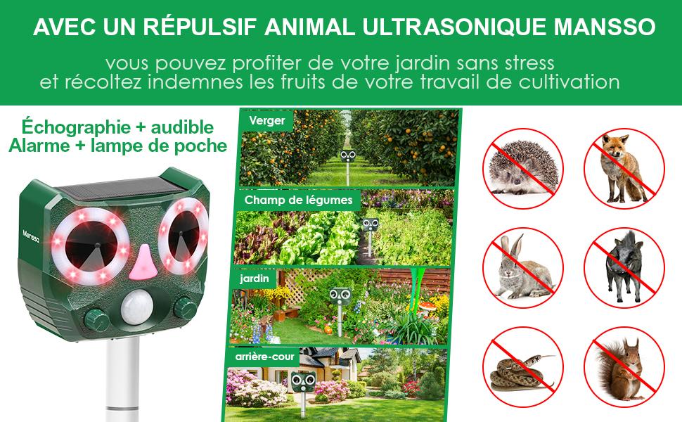 renards petits rongeurs et oiseaux Mansso R/épulsif pour animaux /à ultrasons chiens Pour chats blaireaux rats souris Avec d/étecteur de mouvement et flash /à ultrasons