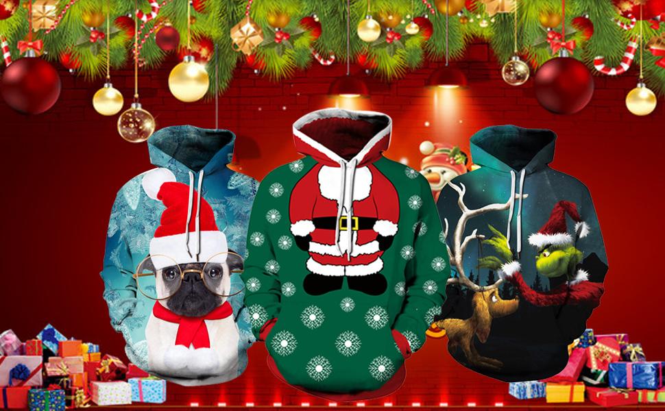 Loveternal Unisexee Pulls Noel 3D Imprim/é Ugly Christmas Jumper Manches Longues Xmas Pullover S-3XL