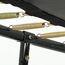 Inhangende trekveren op het zwarte frame en op het springdoek zonder randafdekking van onderen.