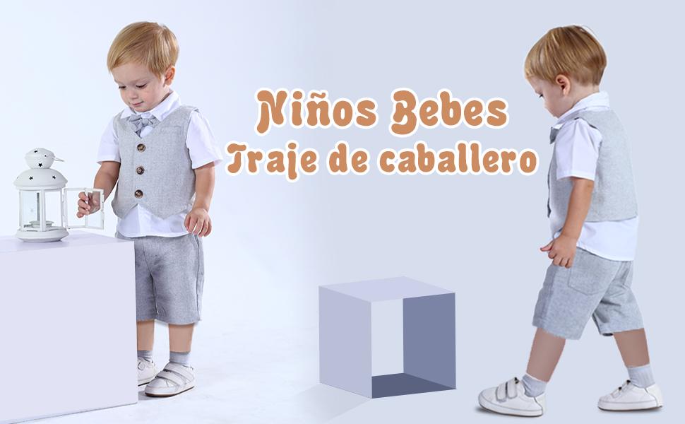 mintgreen Conjunto Camisa de Manga Corta Beb/é Ni/ños Traje Caballero con Pajarita Chaleco Boina 4 Piezas Tama/ño 1-5 A/ños