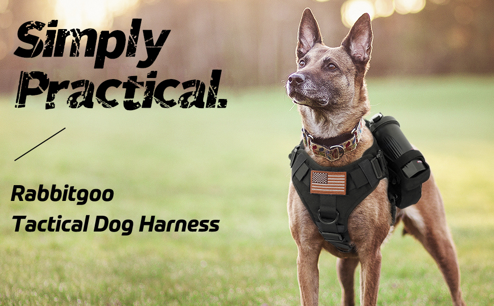 Tactical Dog Harness Vest Large with Handle, Military Working Dog Molle Vest with Metal Buckles