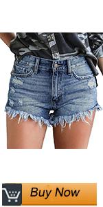 women distressed denim shorts