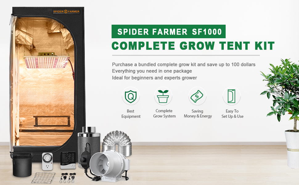 Spider Farmer Complete SF1000 Dimmable LED Grow Light Grow Tent Kit Full Package Setup system