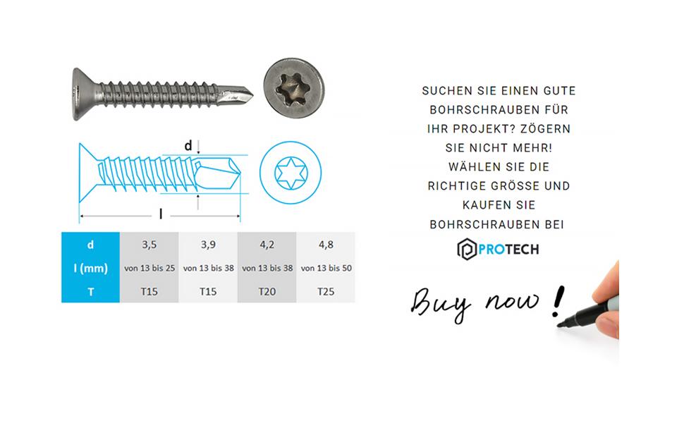 PROTECH 20 St/ück Bohrschrauben Form O TORX 4,2x38 DIN 7504 Edelstahl A2 V2A Rostfrei Senkkopf-Schrauben Blechschrauben