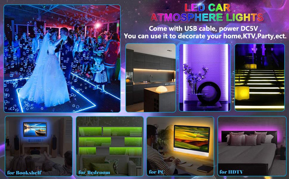 USB-48 Leds BLIAUTO Car LED Strip Light USB 48LEDs Car LED Footwell Interior Lights Atmosphere Neon Lights 4PCS 12V RGB Multicolor Underdash Lighting Kit with Remote Sound Active