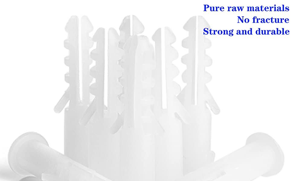 500 Pack White Plastic Drywall Anchor 0.24 inch Round Expansion Sleeve 1.14 inch in Length