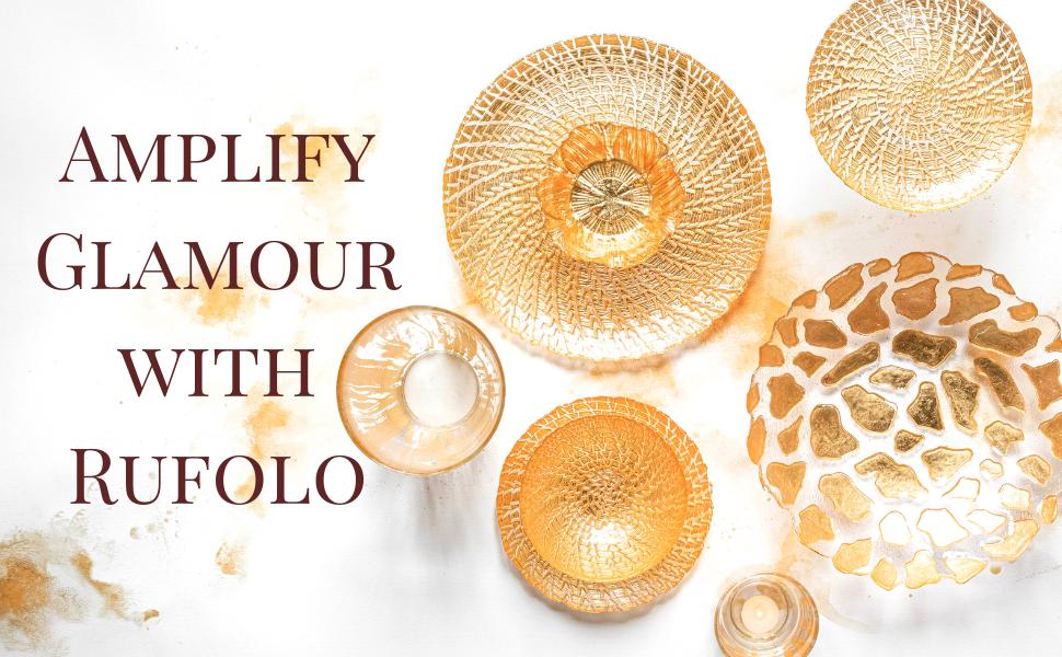 wedding platter gold table setting glass decor mouth blown italy vietri rufolo bowl plate plates