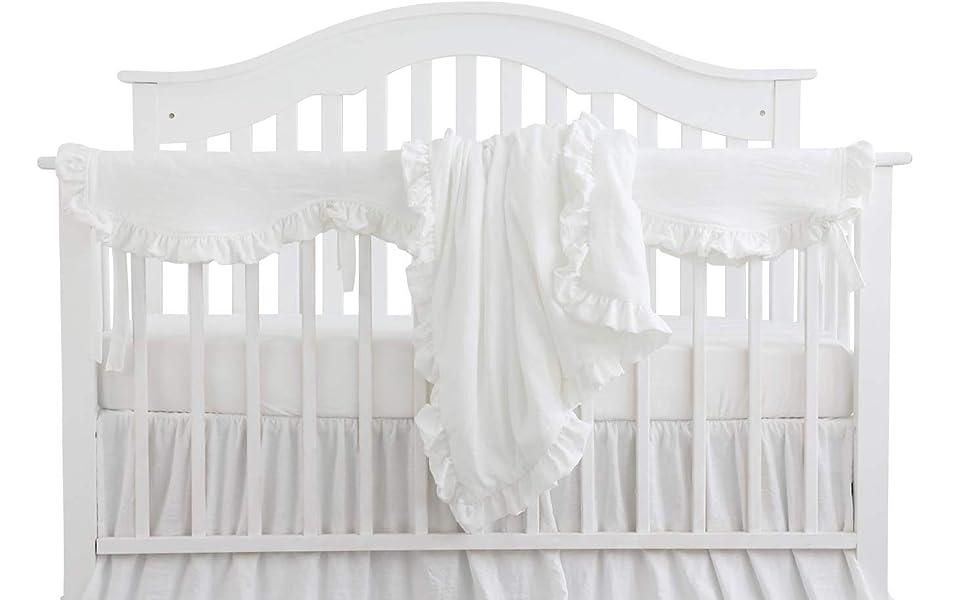 Blush Coral Pink Ruffle Crib Bedding Set Baby Girl Bedding Blanket Nursery Crib Skirt Set Baby Girl Crib Bedding Sheet White 4 Pieces Set With Rail Cover Home Kitchen