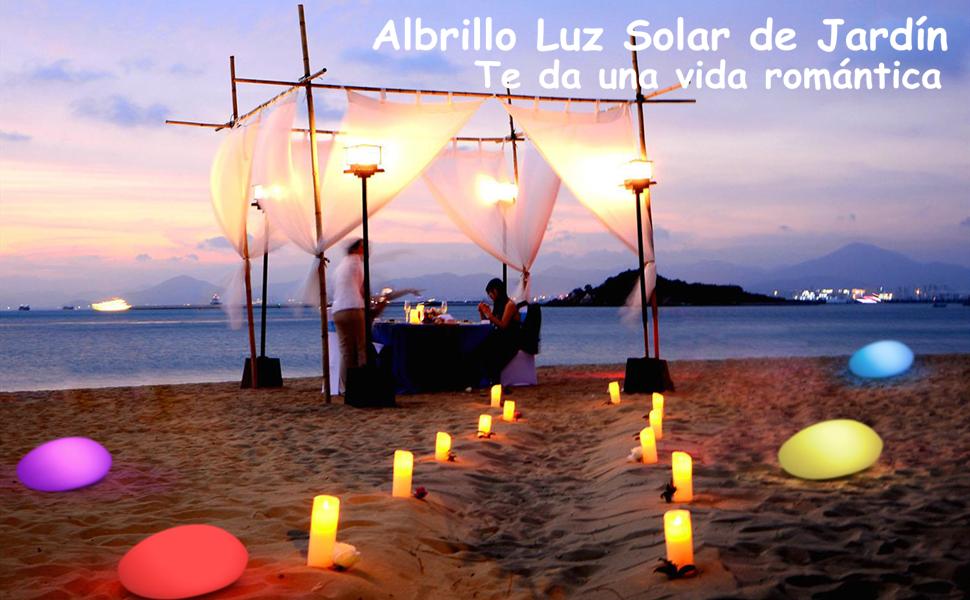 Albrillo RGB Luz Solar de Jardín - Iluminación Exterior LED de Piedra de 40cm, Lámpara Esfera con 8 Colores Ajustables, IP68 Impermeable, Carga por ...
