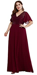 seuqin formal dress with sleeve evening gowns chiffon party gowns dance dress beach dress formal