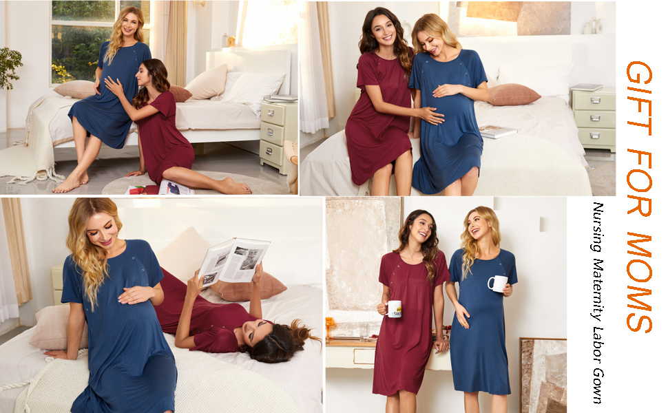 Stylebek Women/'s Nursing//Delivery//Labor//Hospital Nightdress Short Sleeve Maternity Nightgown with Button S-XXL