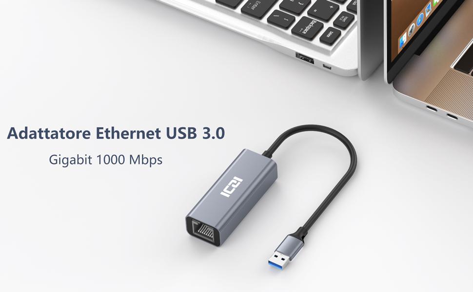 AmazonBasics - Adattatore internet Ethernet, USB 3.0  Gigabit