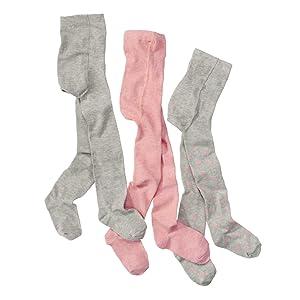 Baby-und Kinderstrumpfhosen rosa und grau mit Punkten