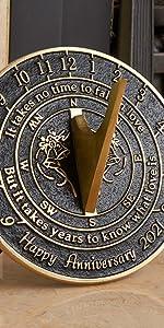 universal wedding anniversary sundial gift