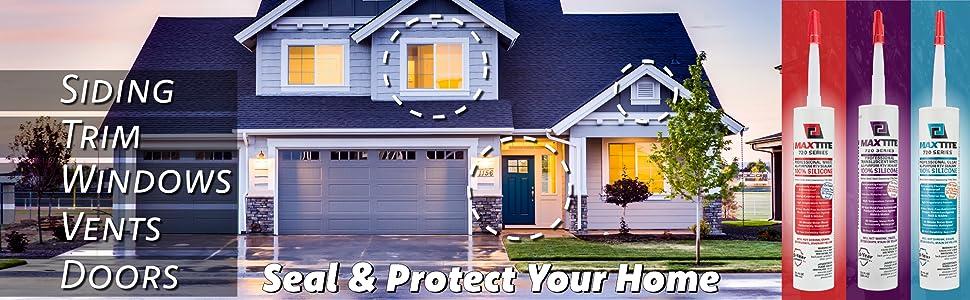 Exterior applications include sealing siding, trim, windows, vents, doors, etc
