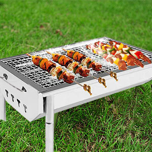 1e0fb9e0 0ef1 4f43 815f 45fd33592c01.  CR0,0,300,300 PT0 SX300 V1    - ISUMER Charcoal Grill Barbecue Portable BBQ - Stainless Steel Folding BBQ Kabab Grill Camping Grill Tabletop Grill Hibachi Grill for Shish Kabob Portable Camping Cooking Small Grill