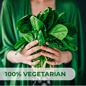 100% vegetarian / vegan. Derived from pure, all-natural sources. Non-GMO. No artificial fillers.