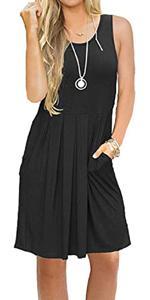 Casual Knee Length Tunic Dress Long Sleeve Pleated Swing Flowy T-shirt Dress With Pockets