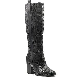 stivali con tacco nero effetto pitone