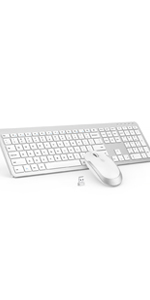 Wireless Keyboard and Mouse - White & Silver