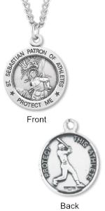 Sterling Silver Saint Sebastian Round Baseball Medal