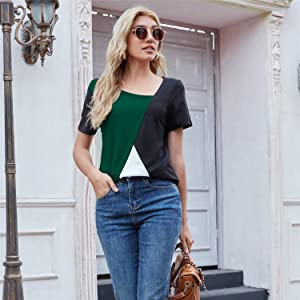 Color block casual top with Legging and bag