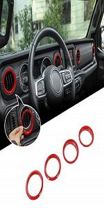Dashboard AC Vent Outlet Cover Trim Ring for 2018-2020 Jeep Wrangler JL JLU JT