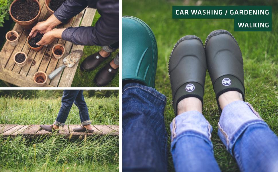 Mens rubber neoprene waterproof warm gardening garden clogs shoes comfortable walking dog car wash
