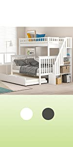 twin over full bunk bed for kids wood white bunk bed with storage and trundle