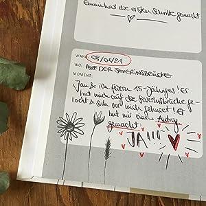 momentesammler momente festhalten eintragbuch tagebuch notizbuch hardcover handlettering design weiß